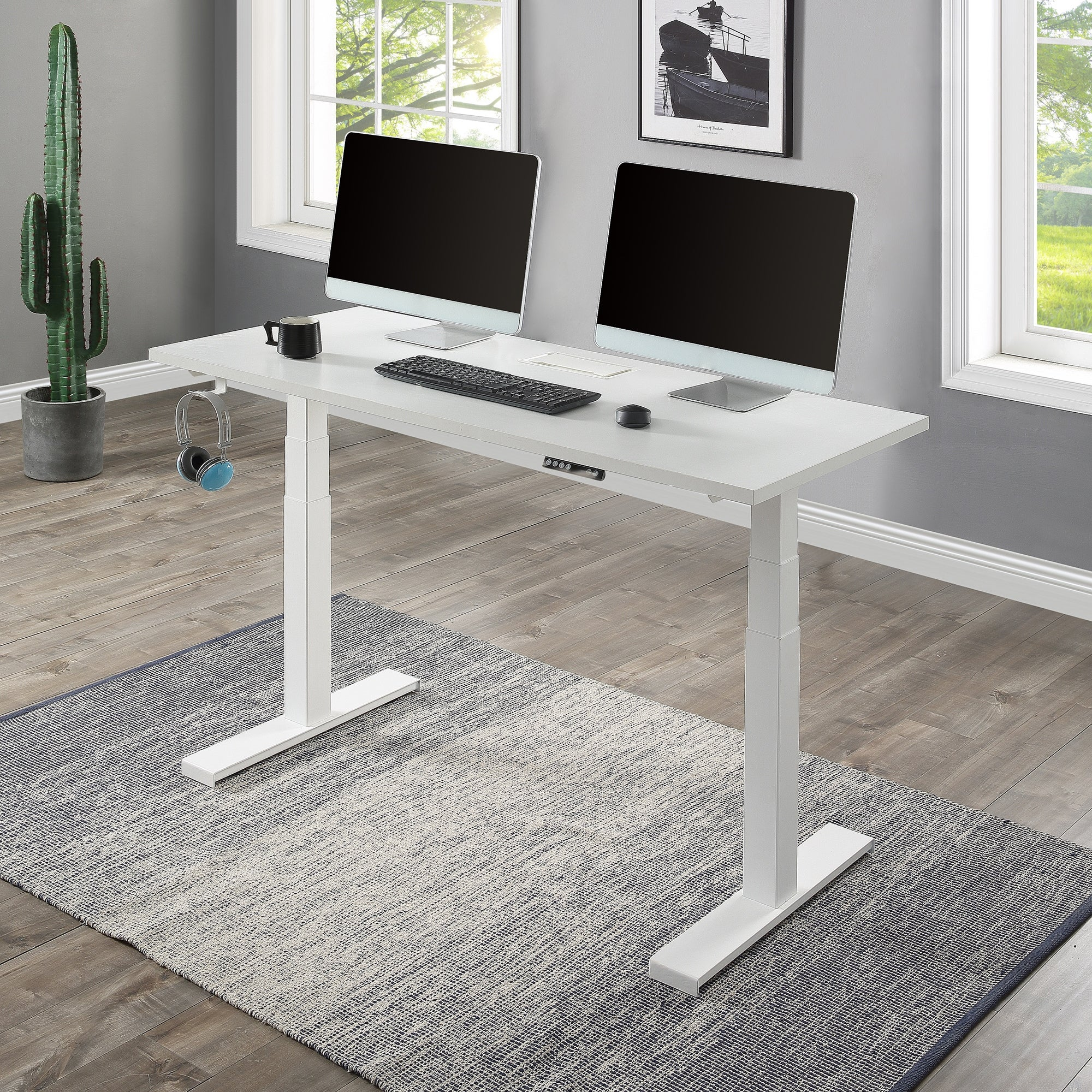 Home Office Height Adjustable Electric Standing Computer Desk Overstock 32630160