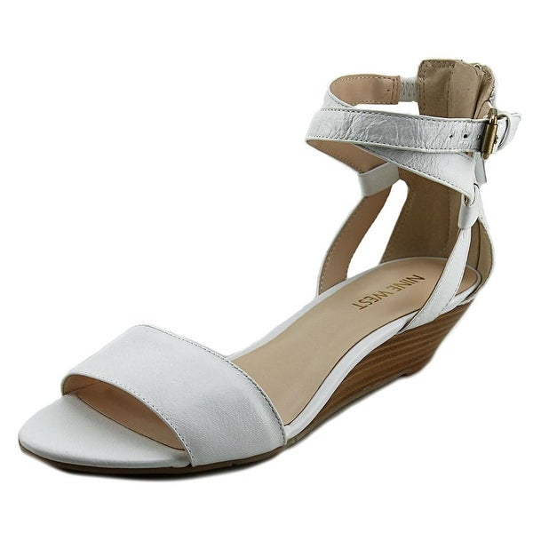 Nine West 7 Villian Women  Open Toe Leather White Wedge Heel
