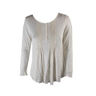 Style & Co Petite Warm Ivory Pleated Henley Top PS
