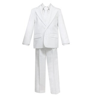 Big Boys White 5 Pcs Shirt Vest Jacket Tie Pants Suit 22