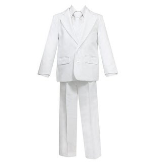 Big Boys White 5 Pcs Shirt Vest Jacket Tie Pants Suit 24