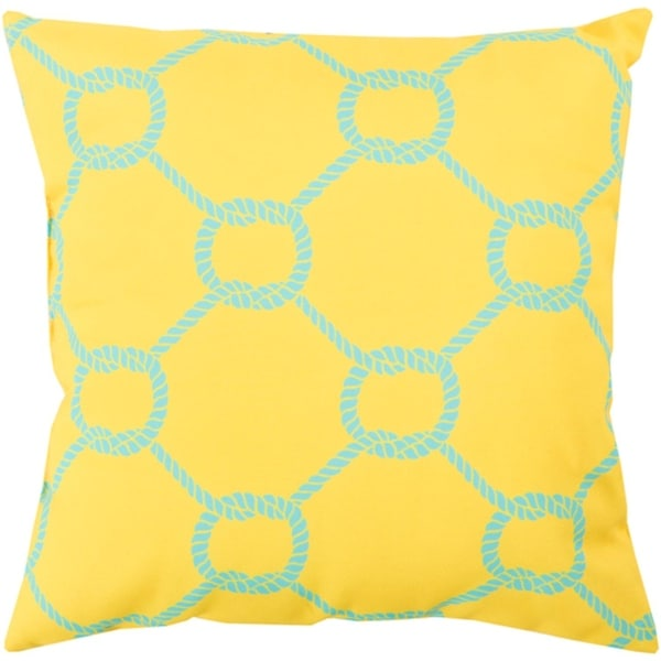 "18"" Lemon Yellow and Aqua Blue Roped Square Throw Pillow Cover"