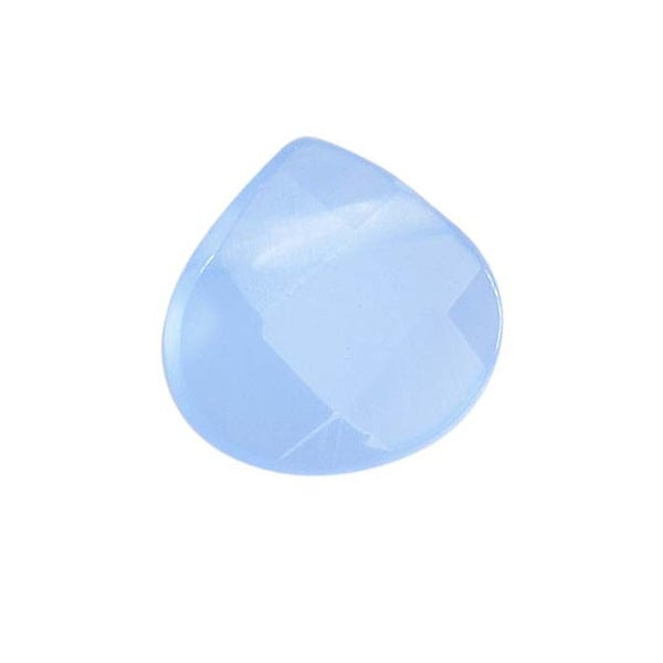 Glass Faceted Heart Cut Briolette Beads 8x8mm - Blue Chalcedony (4)