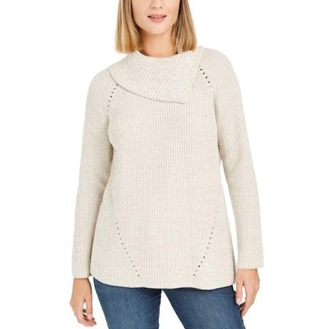 Style & Co Women's Pointelle-Knit Sweater Beige Size Large