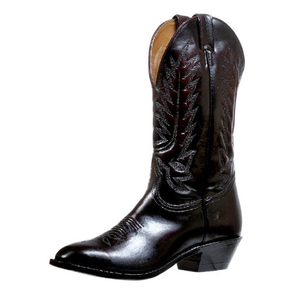 Boulet Western Boots Mens Embroidery Dress Pull Tabs Black Cherry