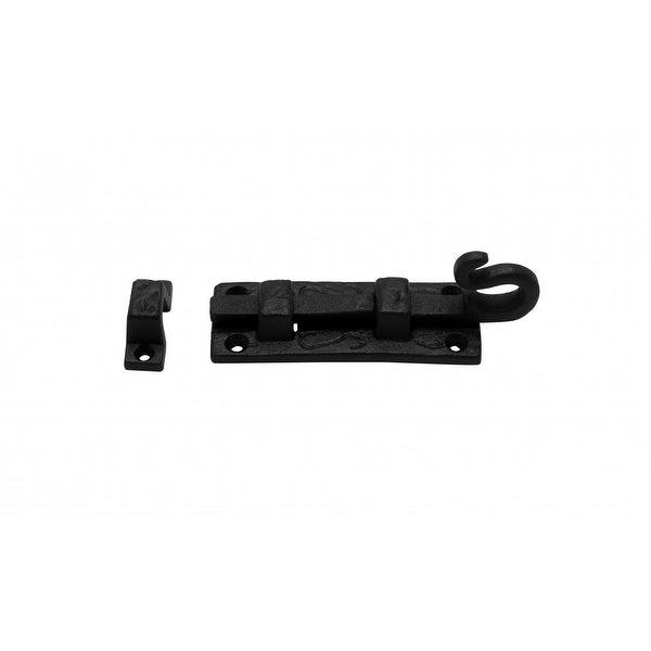 Slide Bolt Black Wrought Iron Door Flush 4 Inches