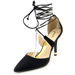 Qupid Mixi-131a Women Pointed Toe Synthetic Black Heels