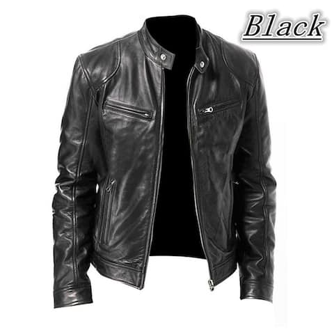 Fashion Men Vintage Cool Motorcycle Leather Jacket Autumn Winter Long Sleeve Jacket Coat Stand Collar Club Bomber Jacket