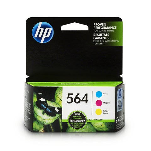 HP 564 Cyan, Magenta & Yellow Original Ink Cartridges, 3 Pack N9H57FN