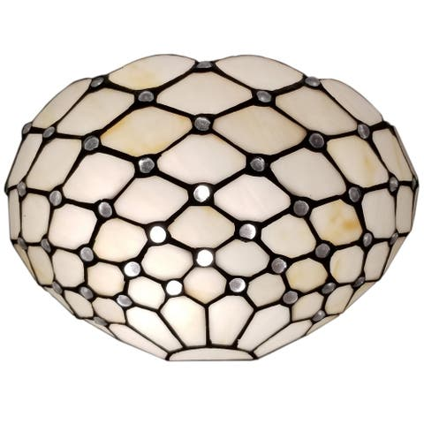 """Tiffany Style Wall Lamp White Jeweled 1 Stained Glass White Stains for Bedroom 12"""" Wide 6"""" Tall Gift AM1097WL12B Amora Lighting"""