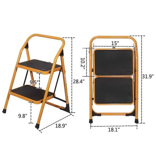 2 Step Ladder Folding Steel Step Stool Anti-Slip Heavy Duty with 330Lbs Capacity