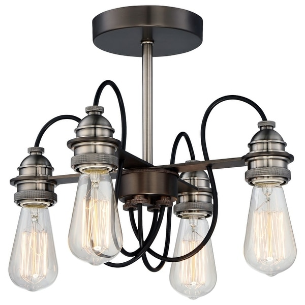 Minka Lavery 4454-784 4 Light Semi-Flush Ceiling Fixture from the Uptown Edison Collection