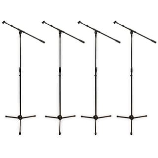 Podium Pro MS2 Adjustable Steel Microphone Stands with Booms and Clamp Mic Clips 4 Stand Set MS2SET4-4S