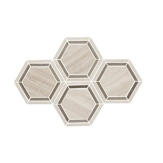 "Daltile L6HEXMSU Limestone Collection - 6"" x 6"" Hexagon Mosaic Multi-Surface Til - chenille white blend"