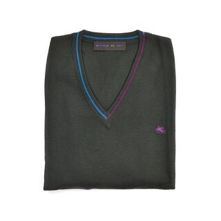 Etro Olive Green Pure Wool Duo Tone Border Crew Neck Sweater