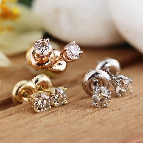 Auriya Round 1/2ct TDW Solitaire Diamond Stud Earrings 14K Gold