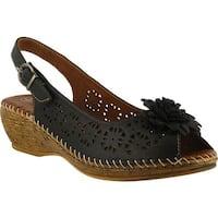 Spring Step Women's Belford Peep Toe Slingback Black Leather