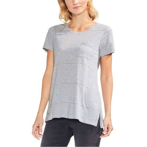 Vince Camuto Womens Stripe Pocket Basic T-Shirt, grey, Small