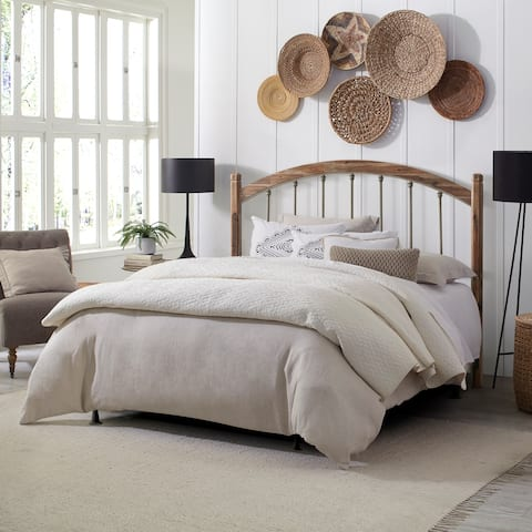 Hillsdale Furniture Bayfront Wood and Metal Headboard with Frame, Pewter