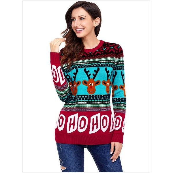 QZUnique Womens Ugly Christmas Reindeer Snowflakes Sweater Pullover