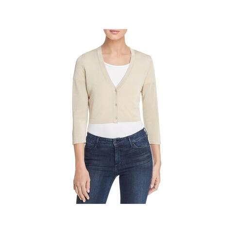 Elie Tahari Womens Ruby Shrug Sweater Metallic Button Front - Gold Metallic