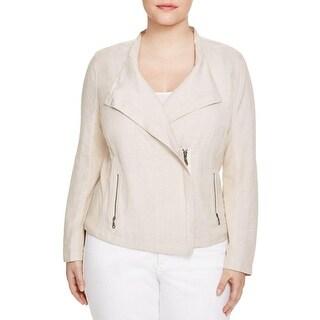 Nic + Zoe Womens Plus Jacket Twill Contrast Trim