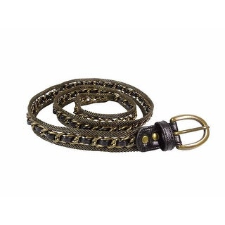 Steve Madden Women's Woven Leather Metal Chain Belt