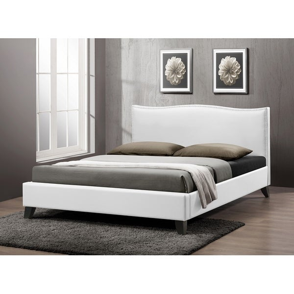 Shop Battersby White Faux Leather Platform Bed W