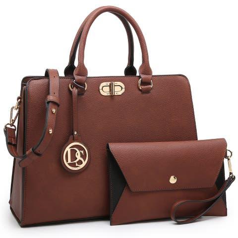 Dasein Vegan Leather Padlock Twist Lock Satchel Handbag with Wristlet