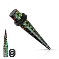 Rainbow Checkered Black Acrylic Taper with O-Rings (Sold Individually)