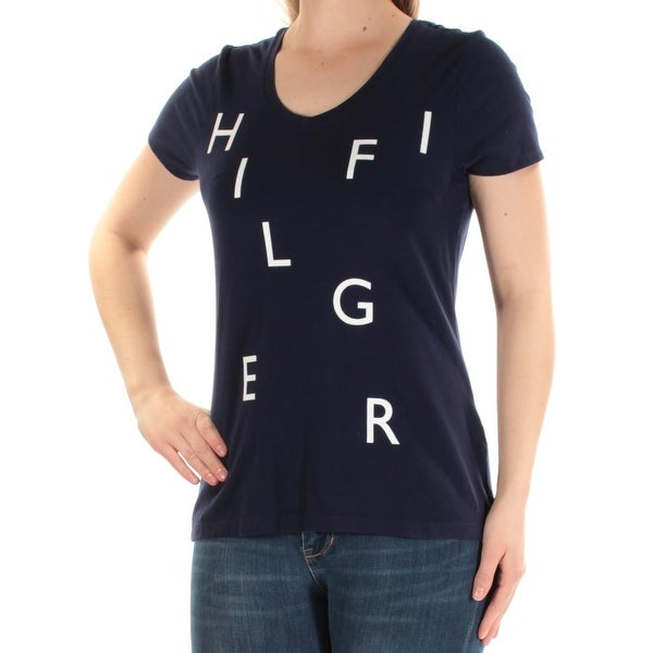9043501078de Shop TOMMY HILFIGER $40 Womens New 1283 Navy Logo Short Sleeve Scoop Neck  Top M B+B - Free Shipping On Orders Over $45 - Overstock - 22425682