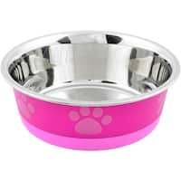 Non-Skid Bonded Stainless Steel Bowl 1Pt-Fuchsia With Pink Print