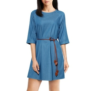 Woman 3/4 Sleeves Round Neck Belted Tencel Denim Mini Dress Blue XL