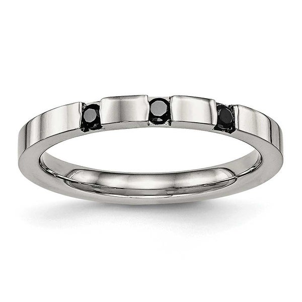 Stainless Steel Polished 3 Stone Black CZ 2.5 mm Band Ring