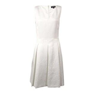Tahari Women's Belted V-Neck Jacquard A-Line Dress