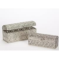 "Set of 2 Decorative Metal Nesting Boxes 12.25"" - Silver"