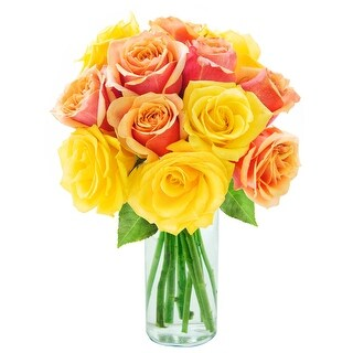 KaBloom: Bouquet of 12 Orange and Yellow Roses (Farm-Fresh, Long-Stem) with Vase