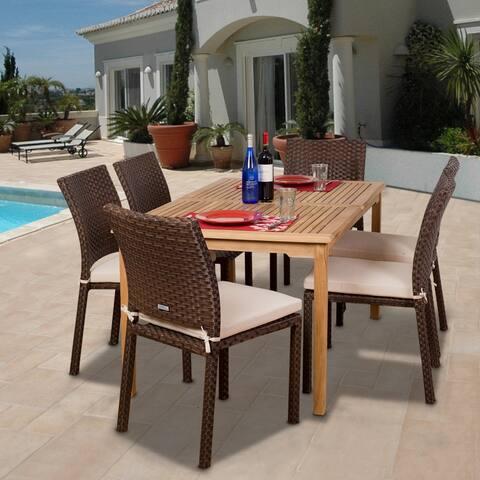 "7-Piece Brown Teak Rectangular Outdoor Patio Dining Set 59"" - Off-White Cushions"