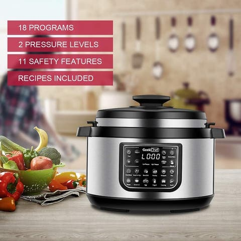 Geek Chef 8-qt. 12-in-i Multiuse Programmable Electric Pressure Cooker Oval, Slow/Rice Cooker/Warmer