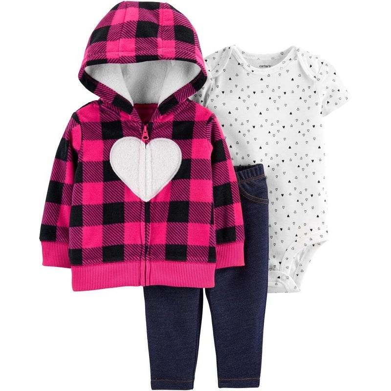 Carter/'s One Piece Hooded Jumpsuit Hearts Theme for Baby Girls
