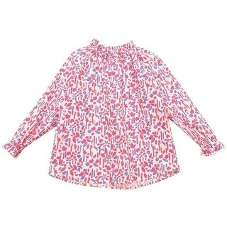 Richie House Girls Pink Floral Print Long Sleeve Gather Cuff Top 7/8