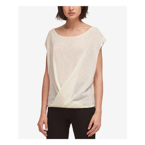DKNY Womens Ivory Drape Front Sleeveless Jewel Neck Sweater Size: S