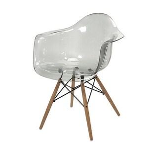 "30.75"" Beckahh Modern Grey Transparent Arm Chair with Wood Legs"