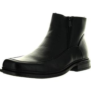 Vanlly Collection Mens Sb35 Leather Double Zipper Faux Fur Cold Weather Boots - Black - 11 d(m) us