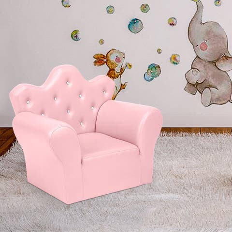 Children Sofa PVC Leather Princess Sofa Mini Sofa Bright Pink 3 Colors