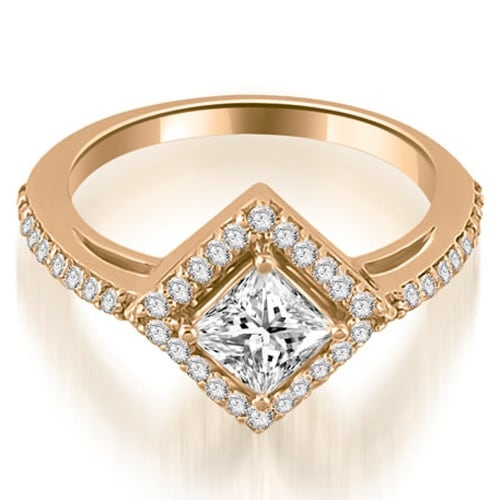 1.40 cttw. 14K Rose Gold Halo Princess Cut Diamond Engagement Ring