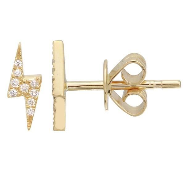 Shop 14k Yellow Gold Diamond Lightning Bolt Stud Earrings Overstock 29735417