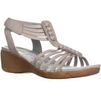BareTraps Hinder T-Strap Wedge Sandals, Ash