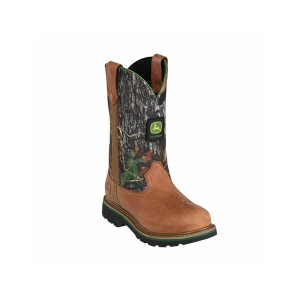 John Deere Work Boots Womens Wellington Crazy Horse Tan Camo
