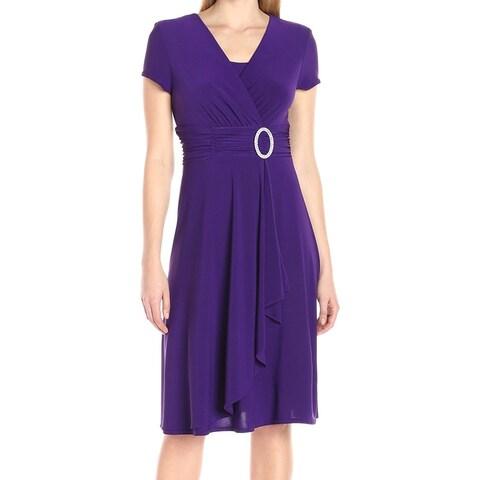 R&M Richards Purple Women's Size 6 Embellish Hardware Sheath Dress